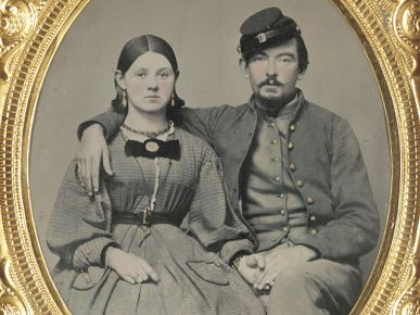 Young woman with Civil War soldier